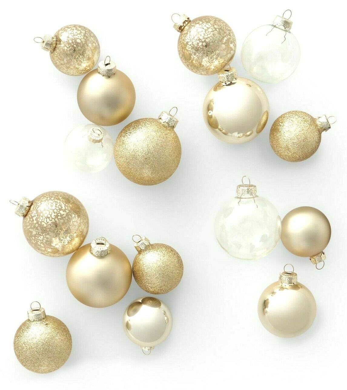 42ct Glass Round Christmas Ornament Set Gold and Clear - Wondershop
