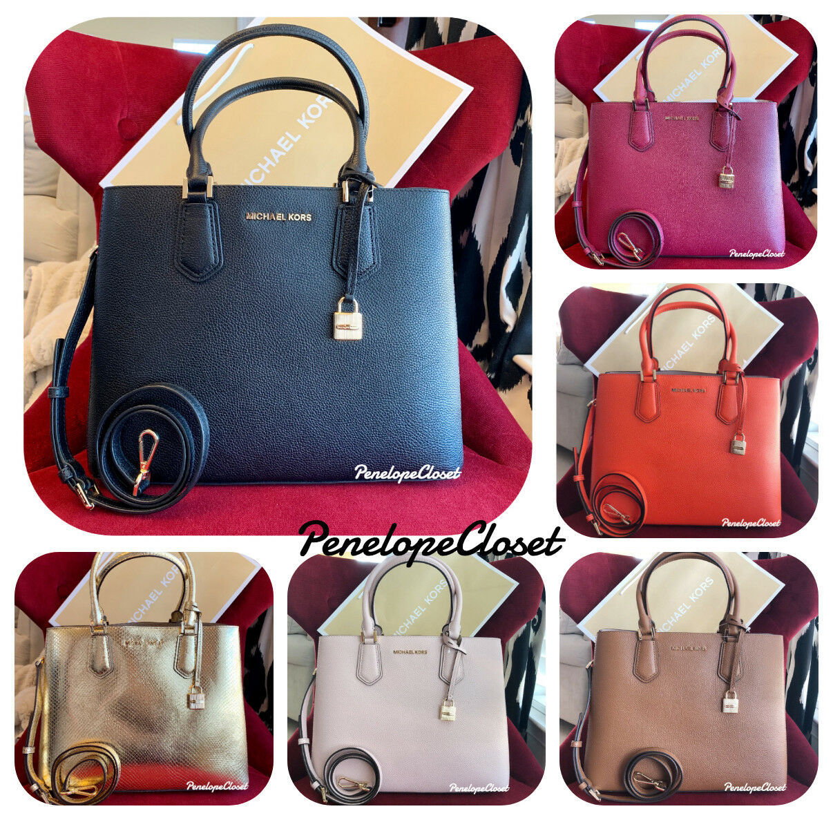 417eebd60825 NWT MICHAEL KORS LEATHER ADELE LARGE SATCHEL BAG IN VARIOUS -  108.88