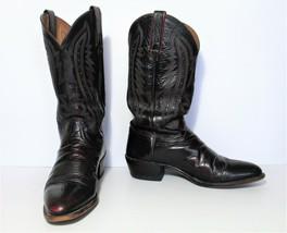 Luccese 2000 Cowboy Boots 9D Men black cherry calf leather - $99.00