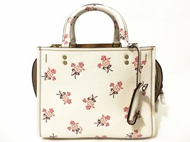 Coach Leather Floral Bow Rogue 25 Handbag Chalk - $470.25