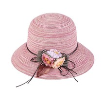 Ummer floppy straw hat women ladies wide brim beach hat sun foldable cap female elegant thumb200