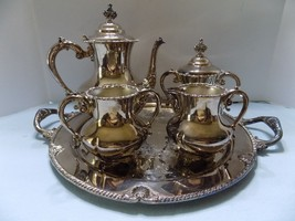5 PIECE SILVERPLATE TEA SET TEAPOT  SUGAR & CREAM & SUGAR CUBE & TRAY - $89.05