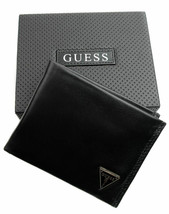 Guess Men's Leather Credit Card Id Wallet Passcase Bifold Black 31GU22X030