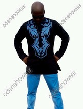 Odeneho Wear Black Polished Cotton Top &Bottom/Blue Embroidery.African Clothing. - $129.99