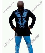 Odeneho Wear Black Polished Cotton Top &Bottom/Blue Embroidery.African C... - $129.99