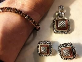 4-pc Vintage Pendant, Clip Earrings and Sparkle Bracelet - probably Brig... - $21.77
