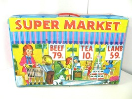Ideal Toys Super Market Vinyl Fold Out Playset Grocery Carts Rare Vintage - $59.00