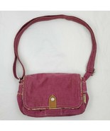 Fossil Corduroy Small Purse Cross Body Maroon Floral Lining - $17.42