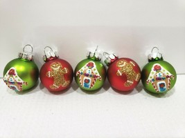 "Christmas MINI Glass Ball Gingerbread Gingerbread House Ornaments 1"" Set... - $9.99"