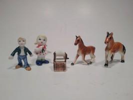 5 Ceramic Minature Figurines Boy Girl Horse Basket - $46.74
