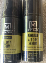 2 Bottles Of M Skin Care Mens All Day Face Serum Replenish 1 FL Oz Fathers Day G - $8.79