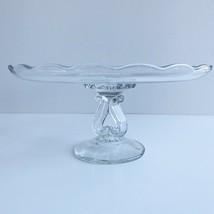 Viking Princess Crystal Scalloped Cake Stand Tray Dish Vintage Glass - $23.36