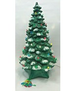 Vintage Holland Mold Ceramic Flocked Christmas Tree w/ Base 2 Piece Ligh... - $222.74
