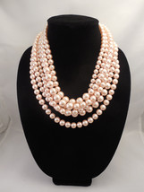 Very Elegant, Chunky Multi Strand Necklace with Blush Peach Pink Glass P... - $95.00