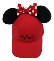 Disney Minnie Mouse Red Snapback Hat Adjustable Women's One Size Ears Bow Detail - $19.24