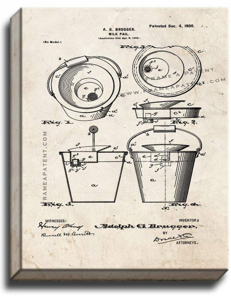 Primary image for Milk Pail Patent Print Old Look on Canvas