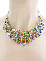 Vitrail Cubic Crystals Bib Statement Evening Necklace Earrings Set, Drag Queen - $39.90