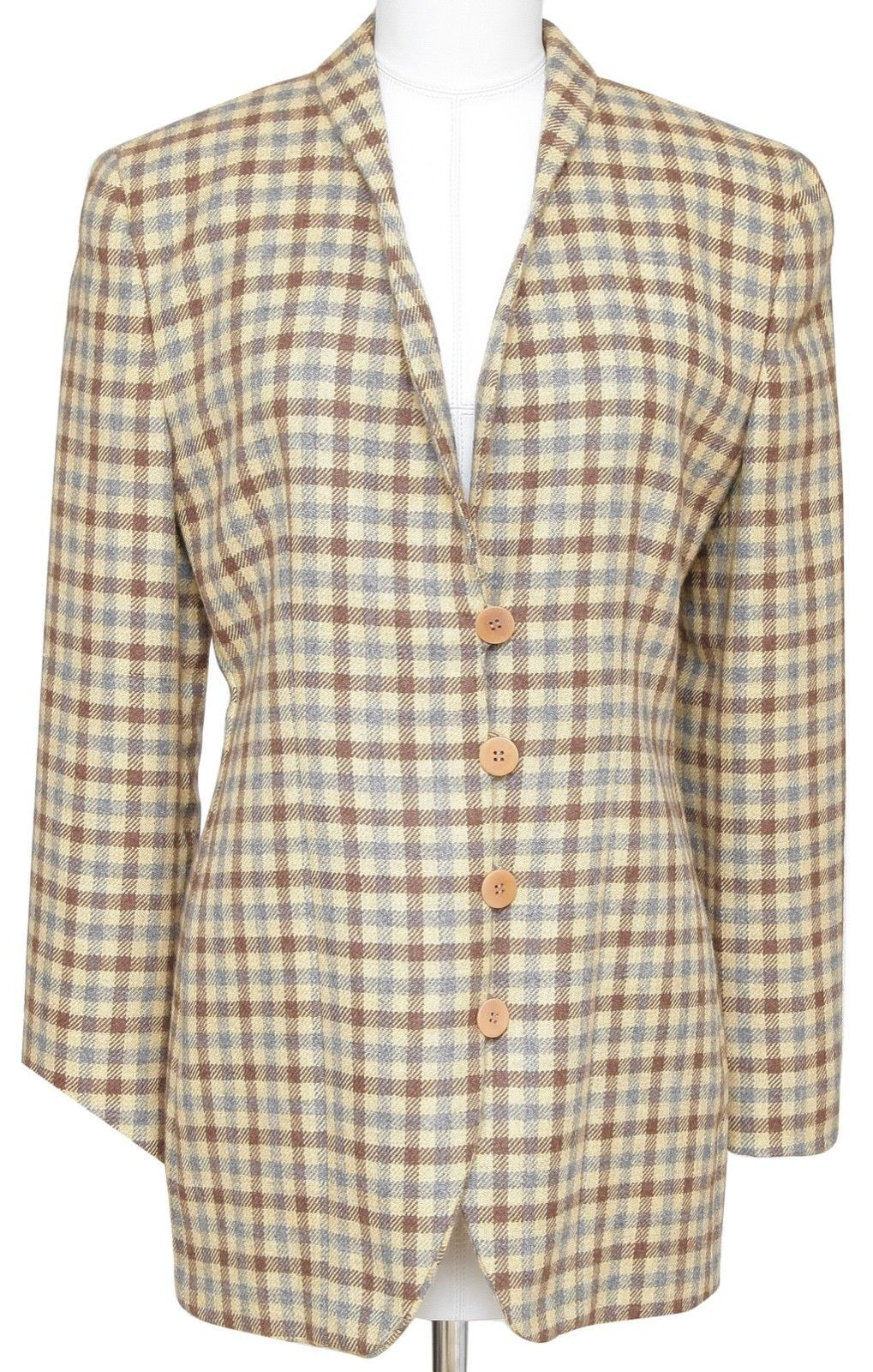 GIORGIO ARMANI Blazer Jacket Houndstooth Yellow Brown Grey Rounded Lapel Sz 42