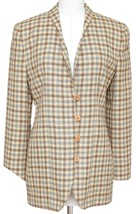 GIORGIO ARMANI Blazer Jacket Houndstooth Yellow Brown Grey Rounded Lapel... - $216.13