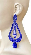 "5.5"" L Statement Evening Clip-On Earring Royal Blue Crystals Drag Queen Pageant - $28.17"