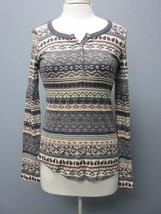 SPLENDID Charcoal Gray Peach Ivory Cotton Long Sleeves Henley Shirt Sz M... - $29.69