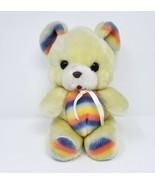 "9"" VINTAGE XYZ IMPORTS BABY YELLOW TEDDY BEAR RAINBOW STUFFED ANIMAL PLU... - $32.73"