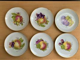 "6 NEW Johann Haviland Bavaria Germany Gold Trim 7.5"" Fruit Pattern Salad Plates - $30.00"