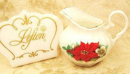 Lefton Poinsettia Christmas Holiday Fine Bone China Creamer Pitcher England - $24.99