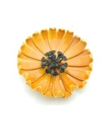 Large Yellow Orange Black Enamel Enameled Flower Brooch Pin Vintage - $39.60