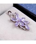 Purple Floral Sterling Silver Pendant for Girls, Violet Clematis Lavende... - $29.00