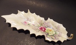 Vintage Pink & White Roses Hand Painted Leaf Nut Dish Arnart Double Blue... - $9.89