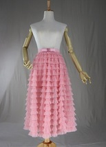 Blush Tiered Midi Tulle Skirt Blush Bridesmaid Skirt Outfits Tulle Puffy Skirts image 6