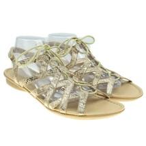 NATURALIZER N5 Beige Comfort Faux Snakeskin Strappy Lace-up Gladiator Sandals 12 - $29.69