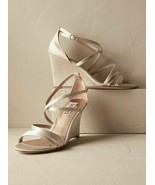 Badgley Mischka Bonanza Womens Evening Wedge High Heel Sandal Ivory Sati... - $67.71