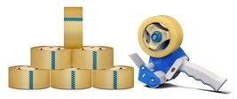 """Hotmelt Carton Sealing Packaging Tape + 3"""" Dispenser - Clear, 6 Rolls, 3... - $32.29"""