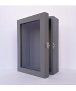 5x8 Grey Deep Wooden Shadow Box Frame with Glass Door, Memory Box, Photo... - $49.00