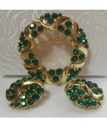 Vintage Faceted Green Rhinestone Filigree Brooch & Clip-on Earrings  - $75.00