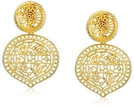 Kenneth Jay Lane Satin Gold Filigree Drop Clip-On Earrings - $121.40