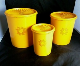 Vtg Tupperware Servalier Canisters Set of 3 with Lids Maize Yellow Orang... - $42.08