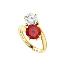 Fine Jewelry Vault UBURS71808AGVYCZRRD600 Two Stone CZ Ruby Engagement R... - $449.60