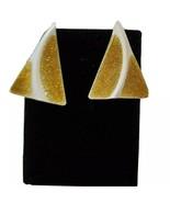Vintage White Gold Tone Enamel Triangle Shaped Earrings Genuine Diamond ... - $17.95