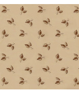 Yd. Chanteclaire Civil War Print, Beige Small Brown Leaves, Quilt Shop F... - $3.13