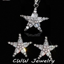 CWWZircons High Quality Cubic Zircon Setting Lucky Star 925 Sterling Sil... - $17.09