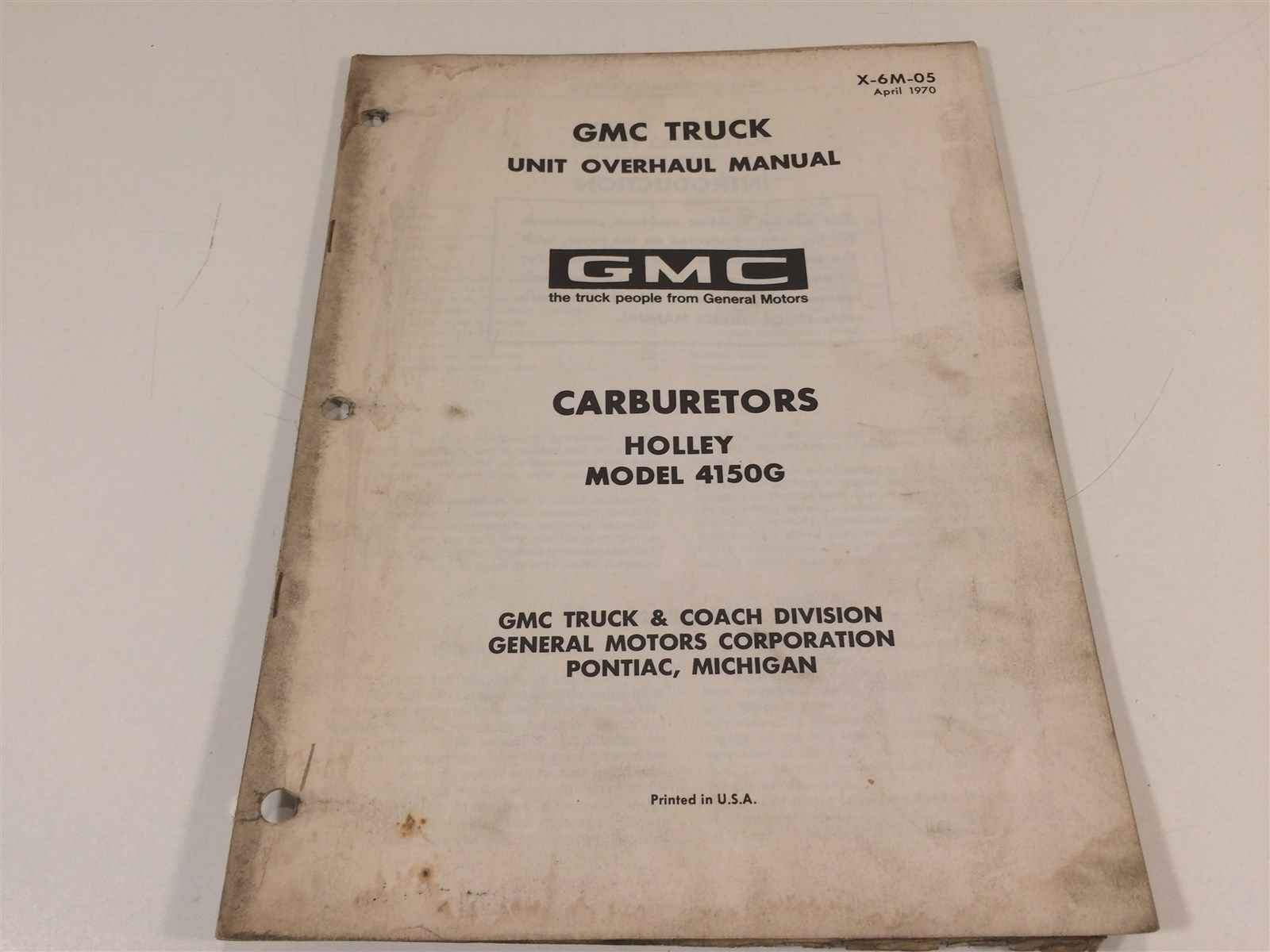1970 GMC Truck Unit Overhaul Manual X-6M-01 Carburetors Rochester  B 2G 2GV 4G