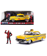 1957 Chevrolet Bel Air Taxi Yellow with Deadpool Diecast Figure Marvel S... - $48.85