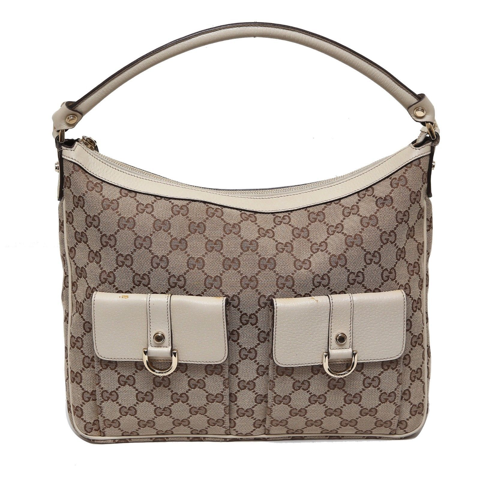 0b19cf7d546 Auth Gucci Beige White GG Canvas D-Gold and 50 similar items