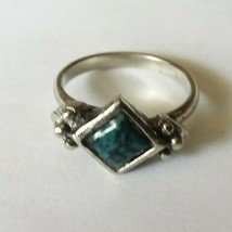Diamond Shaped Adjustable Turquoise Silver Tone Marble Color Ring Sz 6 1/2 - $9.49