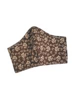 Brown Floral Face Mask Beige Flowers Cotton Adjustable Facemask Handmade... - $10.00