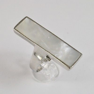 925 SILVER RING WITH NACRE WHITE NATURAL RECTANGULAR