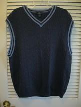 Brooks Brothers 346 Cable Knit Sweater Vest Navy Light Blue Trim Size XL - $21.95